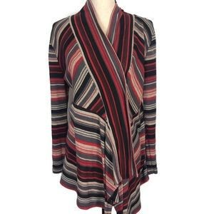 One World Striped Knit Open Front Draped Cardigan